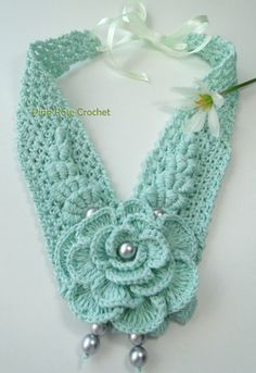 \ PINK ROSE CROCHET /: Colar Kimberly - Crochet Flower Necklace ~ Inspiration