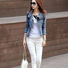Escudo retro delgado de manga larga del dril de algodón de las mujeres – EUR € 24.25
