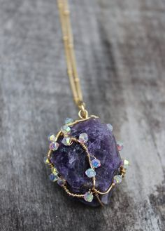 One of a kind Amethyst pendant - Long gold filled chain, wire wrapped jewelry, raw gemstone jewelry, raw amethyst, large amethyst pendant