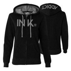 Tattoo Ink Two Color Zip Hooded Sweatshirt Womens Black/Grey - Hoodies