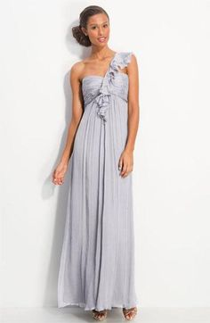 Amsale ruffled shoulder gown in 'Dove'
