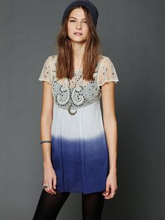 Free People Embellished Palms Tunic, $148.00 in faded peach