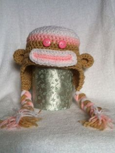 Hand Crocheted Sock Monkey Hat  newborn toddler and by ClockQuirks, $20.00 Back in our shop!! Order now.