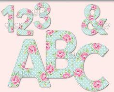 Digital Clip Art: Alfabeto de TEAL SHABBY Shabby Chic letras mayúsculas y minúsculas, números, símbolos, archivos Png, con fondo transparente. Ideal