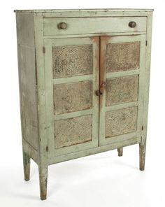 AMERICAN PAINTED PINE PUNCHED-TIN-PANELED FOOD / PIE Country Furniture, Farmhouse Furniture, Country Decor, Antique Pie Safe, Primitive Antiques, Primitive Decor, Farmhouse Chic, Storage Cabinets, Vintage Kitchen
