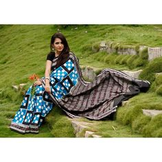 Buy Odisha Double Ikat Saree Blue Black White Pasapalli | PC 21709