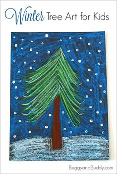 Winter Tree Art Project for Kids using oil pastels! ~ BuggyandBuddy.com