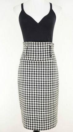 Spring Street Black & White Houndstooth High-Waisted Skirt Size 3 by Spring Street | ClosetDash