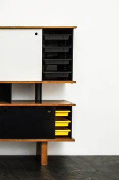 "scandinaviancollectors: "" Taïba bookshelves/sideboard, 1963 by Charlotte Perriand. Folded steel, wood and formica. / The Salon "" Scandinavian Office Furniture, Scandinavian Bookshelves, Sideboard Furniture, Diy Furniture, Furniture Design, Credenza, Charlotte Perriand, Interior Design Inspiration, Wall Shelves"