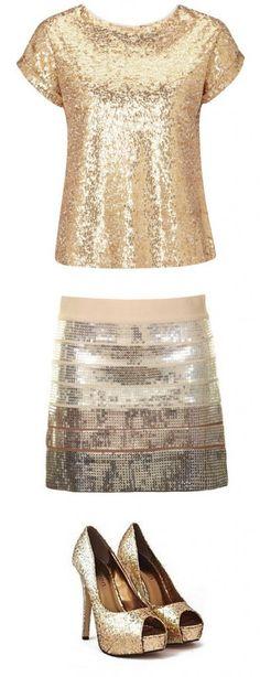 Sequin outfit #heels #skirt #shirt