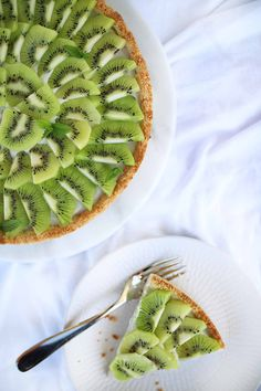 the lime-coconut crust is very crispy and fresh the kiwis and the yogurt bring a slight tartness and sweetness to it