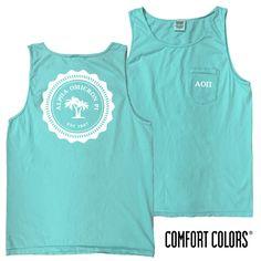 AOII Lagoon Blue Comfort Colors Pocket Tank
