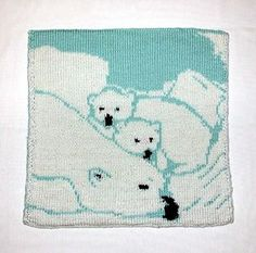 Ravelry: Polar Bear Baby Blanket (Double Knit) pattern by Lina Wolf Knitting Charts, Baby Knitting Patterns, Knitting Ideas, Knitted Baby Blankets, Double Knitting, Polar Bear, Free Pattern, Knit Crochet, Pillow Covers