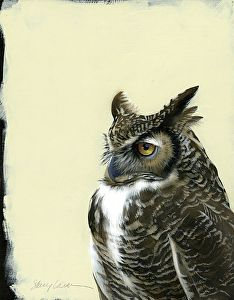 Great Horned Owl by Sherry Loehr Acrylic ~ 14 x 11