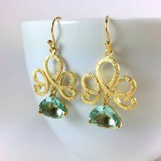 Aquamarine Earrings Gold Filigree Glass Drop Chandelier Earrings by BlingNiks