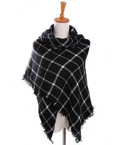 Luxury Warm Winter Women Pom Pom Check Tartan Scarf Large Shawl Tassels Stole Wr