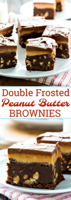 Double Frosted Peanut Butter Brownies consist of a fudgy peanut butter brownies topped with peanut butter frosting AND chocolate frosting. Double the frosting is always better. These brownies are chocolate and peanut butter heaven. Best Dessert Recipes, No Bake Desserts, Delicious Desserts, Health Desserts, Peanut Butter Brownies, Peanut Butter Recipes, Cheesecakes, Yummy Treats, Sweet Treats