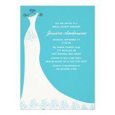 Aqua Wedding Gown Bridal Shower Personalized Invitation