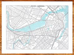 Beautiful letterpress map of Boston where every line is a street name. So pretty.