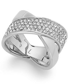 Michael Kors Ring, Silver-Tone Pave Criss-Cross Band Ring - Michael Kors - Jewelry & Watches - Macy's
