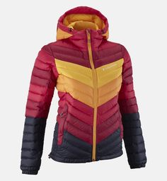 2c5029a1a8 Women s Frost Stripe Down Hooded Jacket - active wear - Peak Performance  Winter Chic