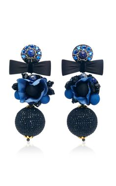 Ranjana Khan's decorative statement earrings are encrusted with crystals and appliquéd with floral petals to resemble a flower. The clip fastening means anyone can wear this surprisingly lightweight style.