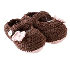 How adorable are these 0-12 Month Cotton Crochet Pink/Brown Shoes for your little bundle of joy #scottsmarketplace
