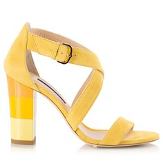 2a7e7f89bc62 Alberto Guardiani DENISE Yellow suede leather cross-over strap color-block  heel sandals. Fratelli Karida