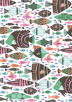 Poppy & Red, pattern with fishes in pastel colors by Illustrators Ireland