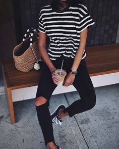 The Great striped tee, J Brand black skinnies, Converse in Bondi