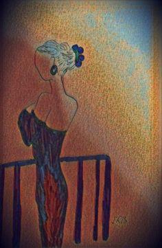©Lady, painted by Iris Sun, watercolor  www.irisunart.com