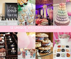 "Take your guests by surprise by ending the night on a fabulously sweet note with these unique and fun wedding desserts. Click to read ""12 Unique Wedding Desserts Beside Cake""."