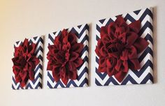 Ruby Dahlia Flowers on Navy and White Chevron Canvas