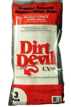 Works With: Dirt Devil Central Vacuum Cleaner CV950 Dirt Devil CV950/LE Dirt Devil RV2000 Maxum Description:Maxum Disposable Bags, 3 Genuine Dirt Devil Bags In Pack