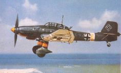 """JU-87 FLYING OVER THE COAST OF GREECE 1941 """"Devastatingly effective when operating without aerial opposition"""" KB"""