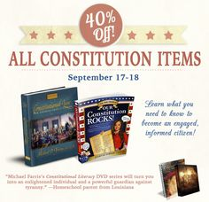 In honor of our greatest founding document, the HSLDA Store is having a fantastic sale starting tomorrow, which will give you 40% off all Constitution items (September 17-18)!