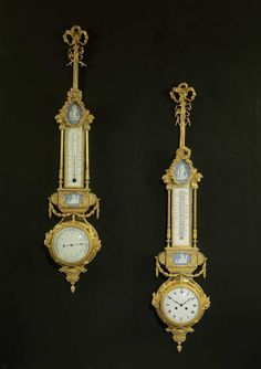 8 A Neoclassical Style Gilt Bronze Hanging Clock and Barometer.  French, Circa 1880.