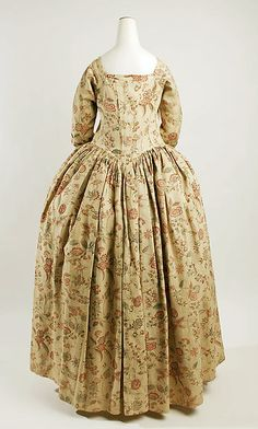 Dress (image 2) | American | mid-18th century | linen, cotton | Metropolitan Museum of Art | Accession Number: 38.26a