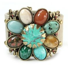 Sweet Romance Pewter Gemstone Desert Flower Leather Cuff Bracelet ($80) ❤ liked on Polyvore featuring jewelry, bracelets, brown, flower cuff bracelet, western jewelry, leather jewelry, flower jewelry and cowgirl jewelry