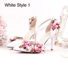 Floral Summer Bridal Shoes. Beautiful Handmade Wedding