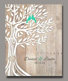 Personalized Wedding Gift, Love Birds in Tree, Newly Weds Gift Family Tree Art, Names Wedding Date, Poster 8,5''x11''