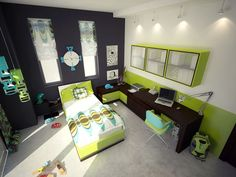 Minecraft boys bedroom ideas kids room curtains for bedroom child bedroom baby boy room decor kids Green Bedroom Colors, Green Bedroom Design, Bedroom Color Schemes, Green Bedrooms, Green Colors, Paint Schemes, Nursery Design, Colours, Lime Green Rooms
