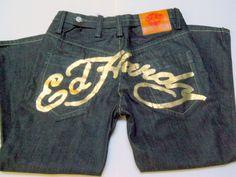Ed Hardy Mens Denim Jeans 36 x 30 Christian Audigier Black Gold Words Backside  #EdHardy #BaggyLoose