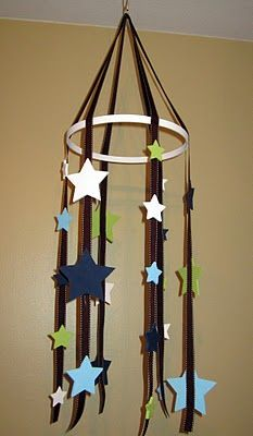 Star Mobile -   wooden stars, ribbon and embroidery hoop. key ring to hang onto hook