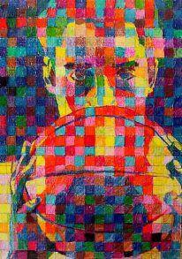 Chuck close grid drawing- make it computer art