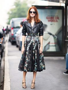 Floral and leather makes for the perfect feminine-yet-edgy look. // #Style