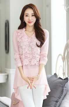 Feminine pink with lace top