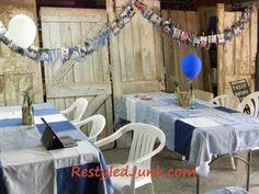 Repurposed Denim for tablecloths, banner, and more.  Graduation party ideas.  Old doors become a faux wall.