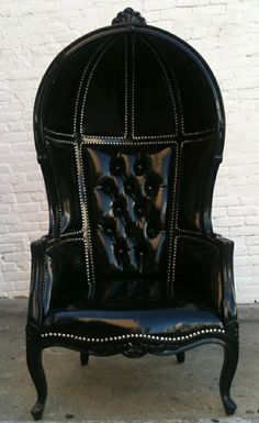 black leather armchair Baroque style