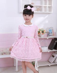 T176 Beautiful Cute Baby Girl Dress Lace Flowers Long Sleeve Princess Dress US